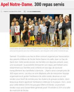 APEL Notre-Dame : 300 repas servis