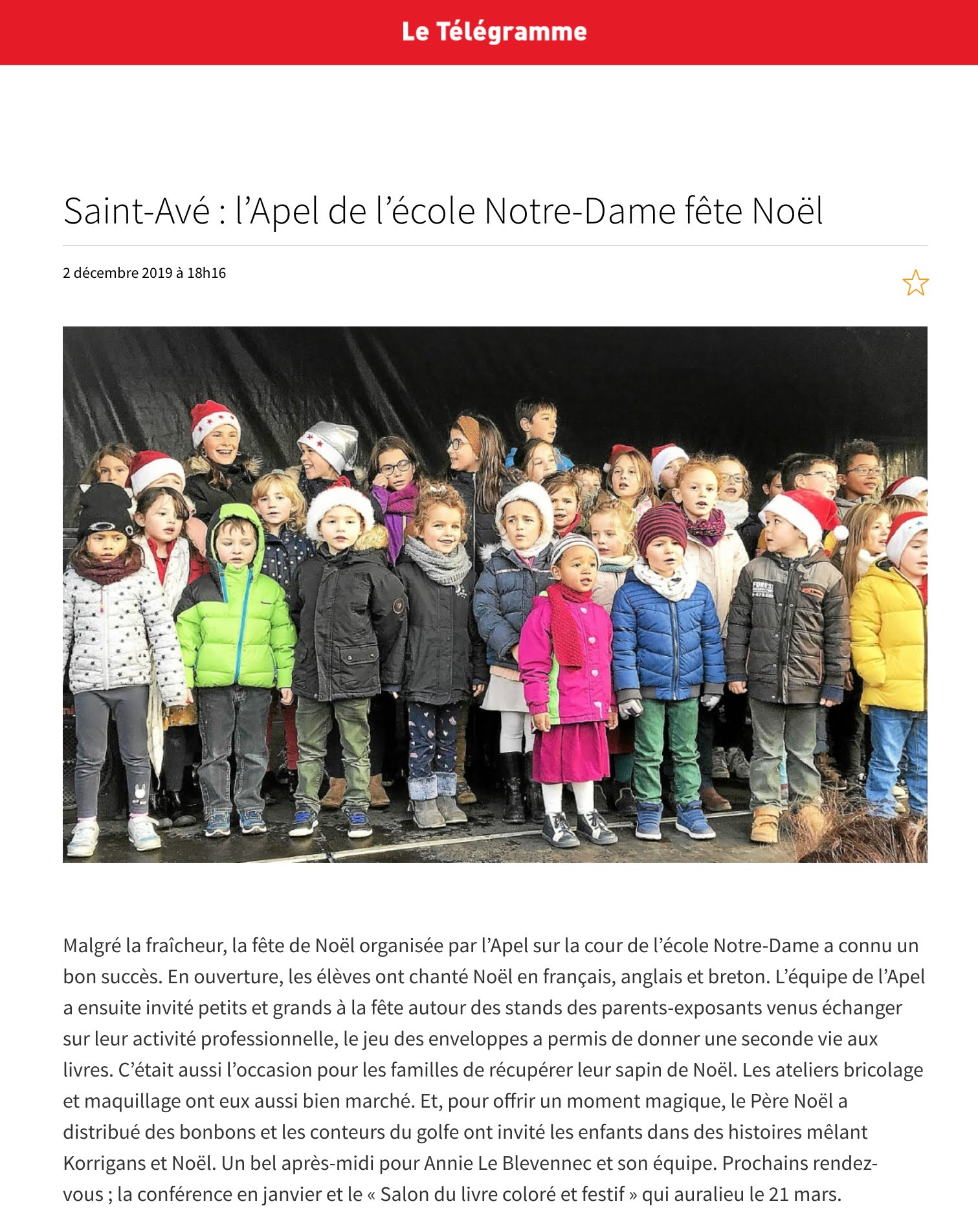 L'APEL de l'école Notre-Dame fête Noël