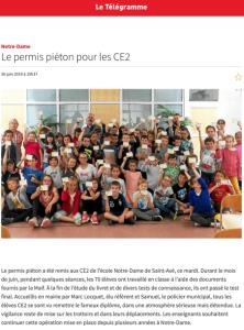 Le permis piéton pour les CE2