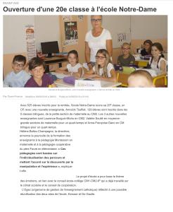 L'ouverture d'une 20ème classe à l'école Notre-Dame