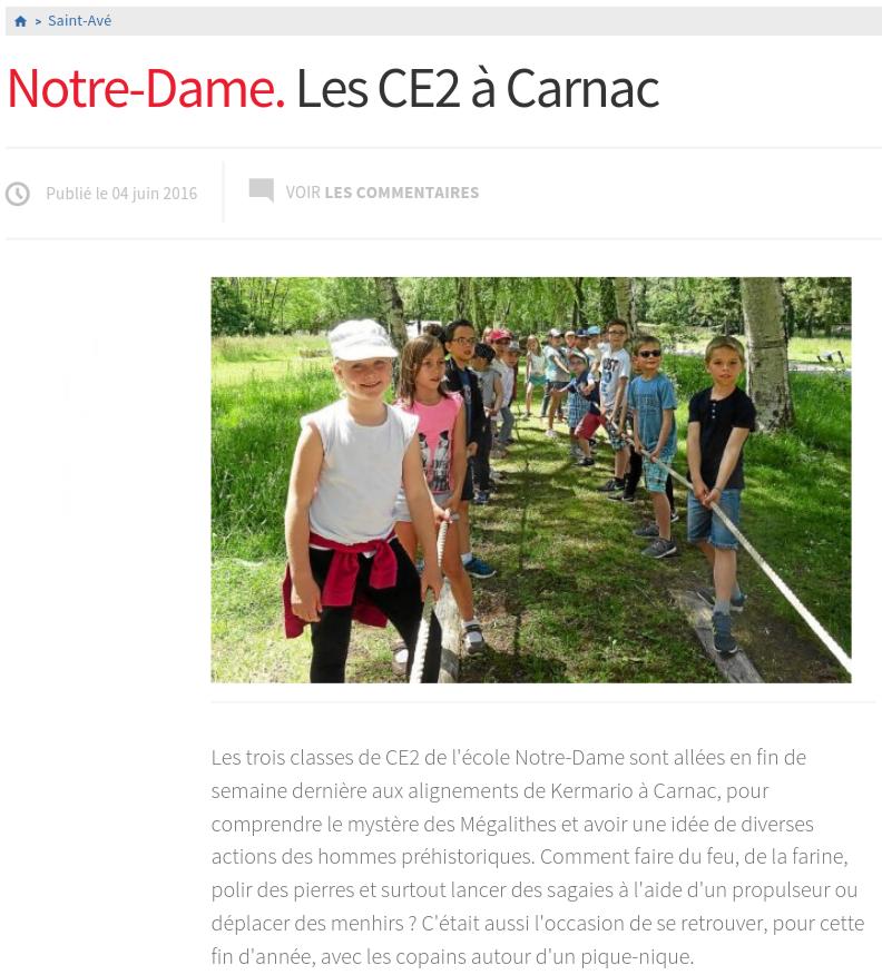 Les CE2 à Carnac