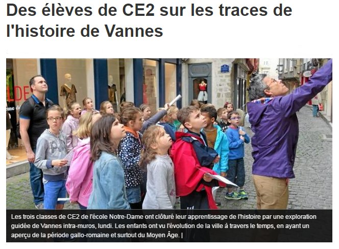 Des élèves de CE2 sur les traces de l'histoire de Vannes