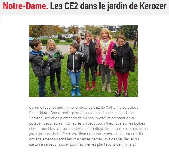 Les CE2 dans le jardin de Kerozer