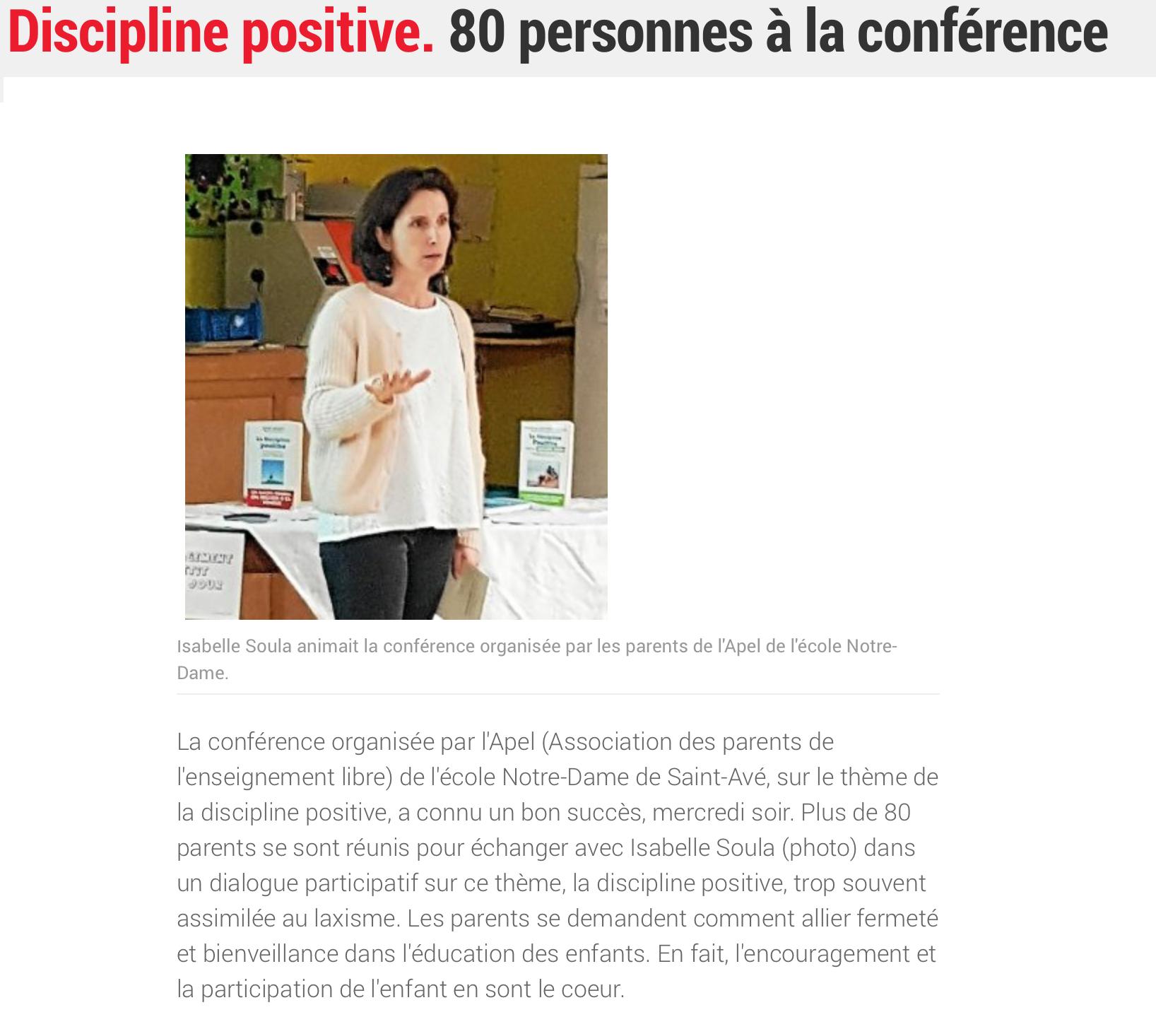 Discipline positive. 80 personnes à la conférence