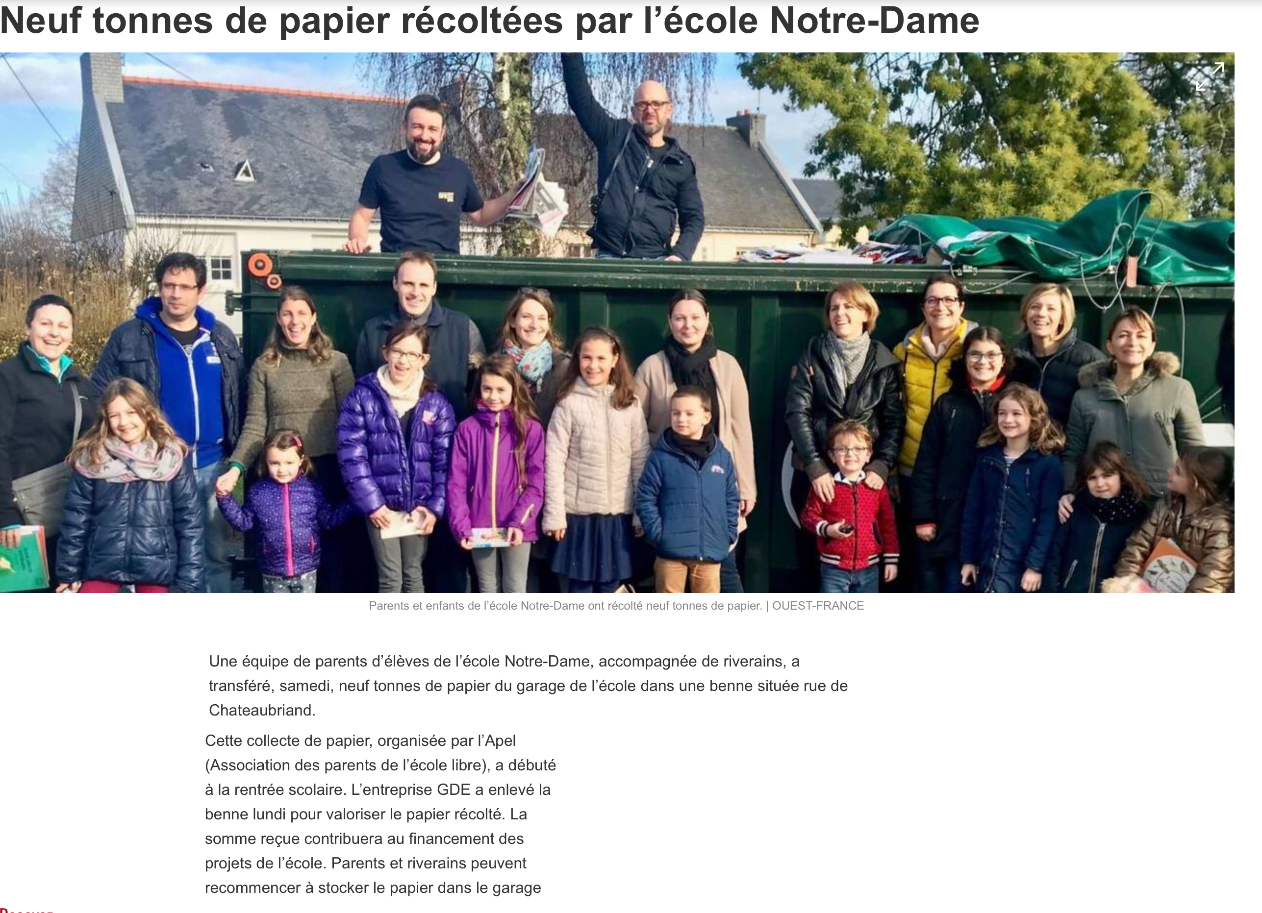 Neuf tonnes de papier récoltées par l'école Notre-Dame
