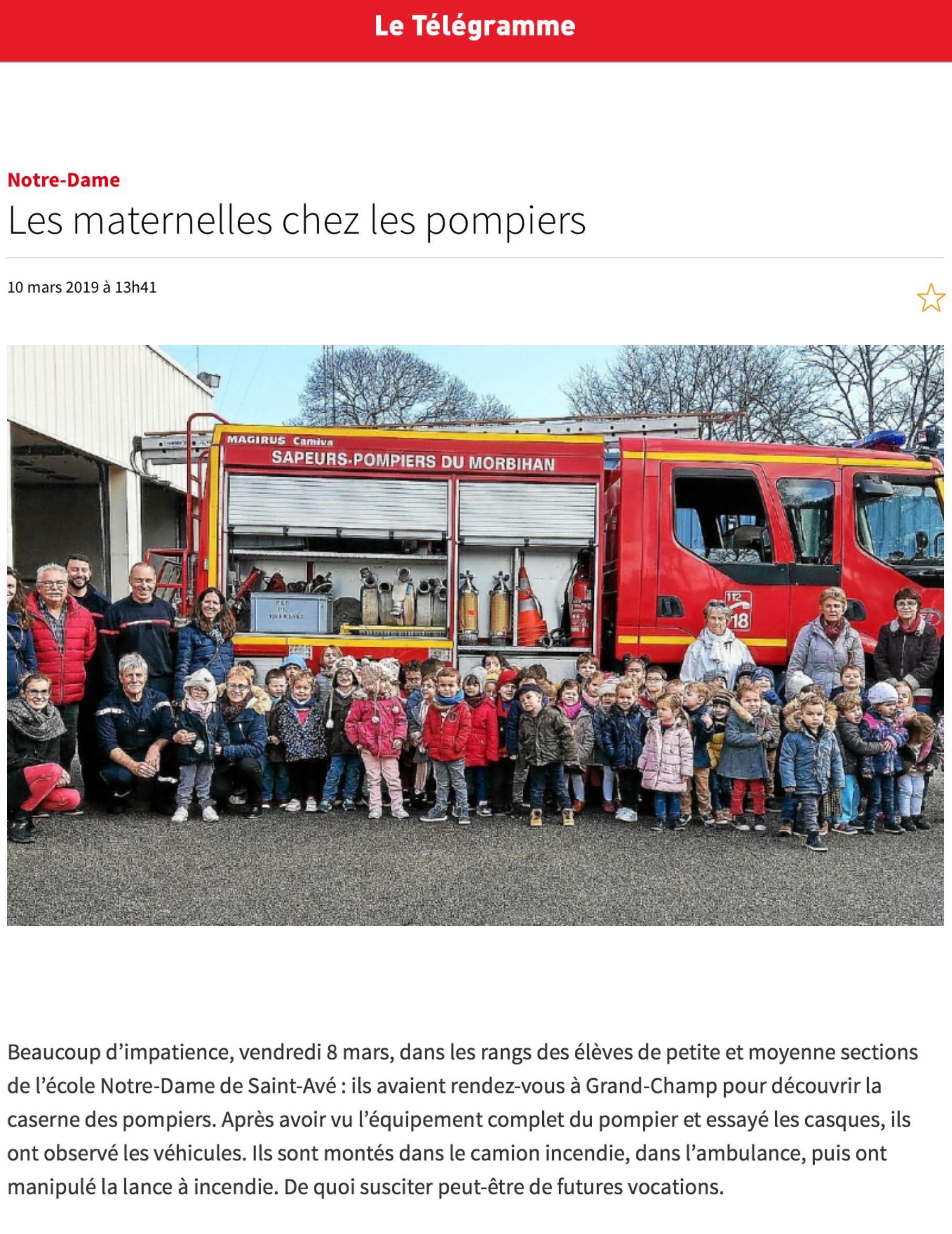 Les maternelles chez les pompiers