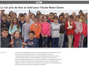 Le premier prix de Kan ar bobl pour l'école Notre-Dame