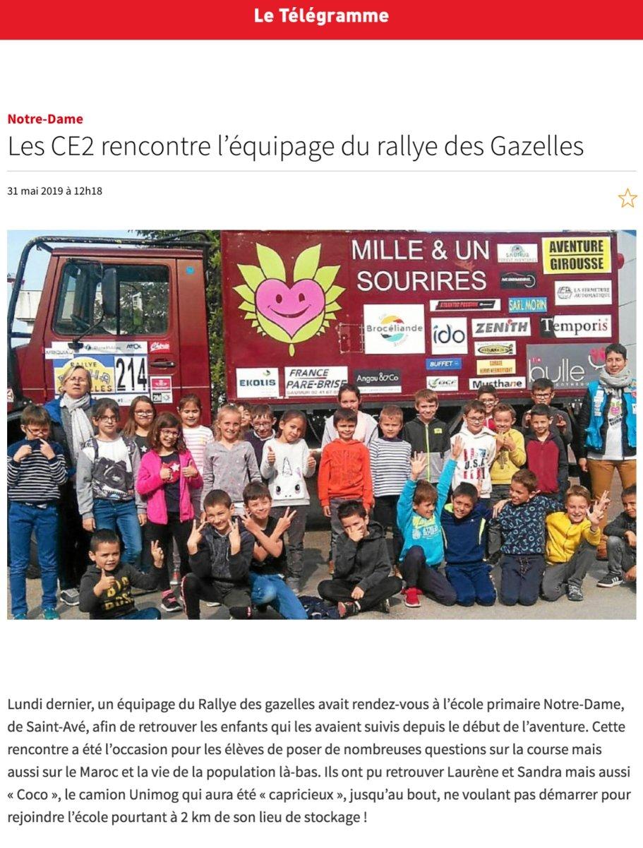 Les CE2 rencontrent l'équipage du ralye des Gazelles