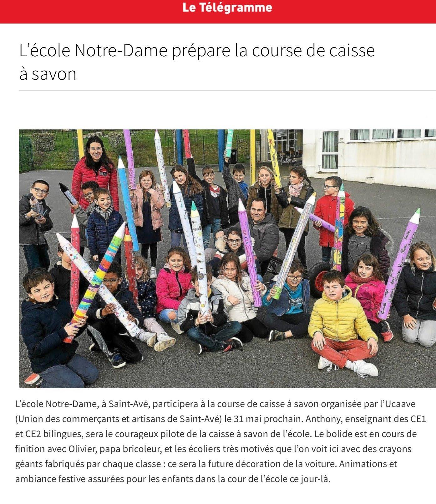 L'école Notre-Dame prépare la course de caisse à savon