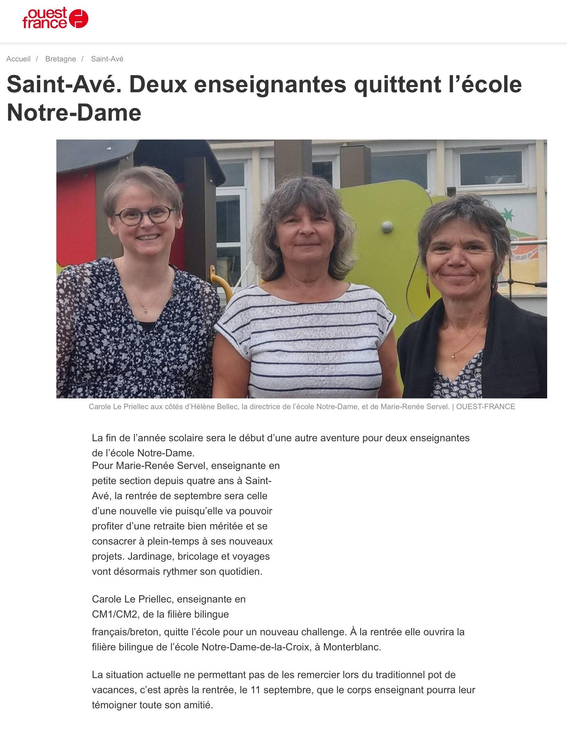 Deux enseignantes quittent l'école Notre-Dame