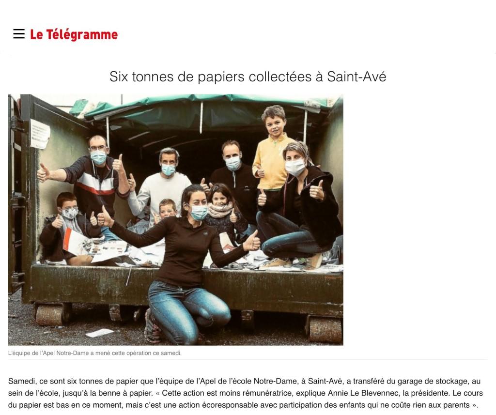 6 tonnes de papiers collectées à Saint-Avé