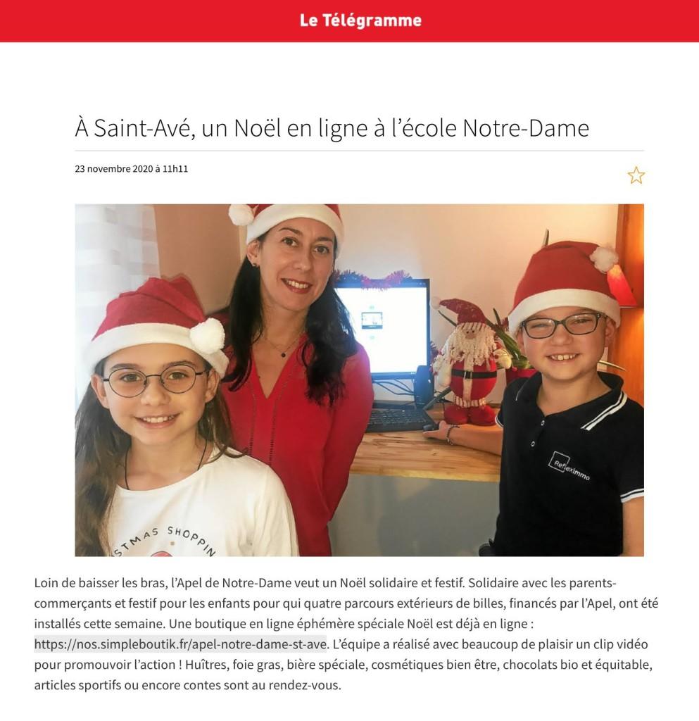 A Saint-Avé, un Noël en ligne à l'école Notre-Dame