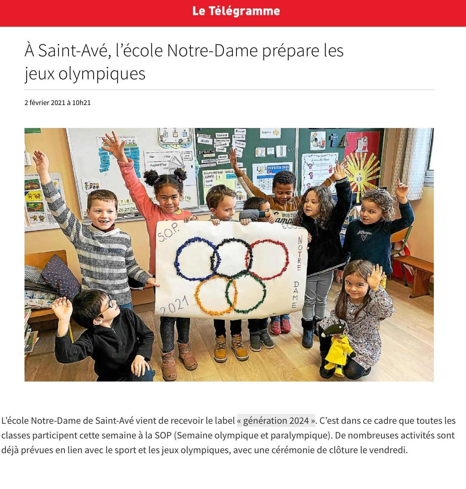 L'école Notre-Dame prépare les Jeux Olympiques