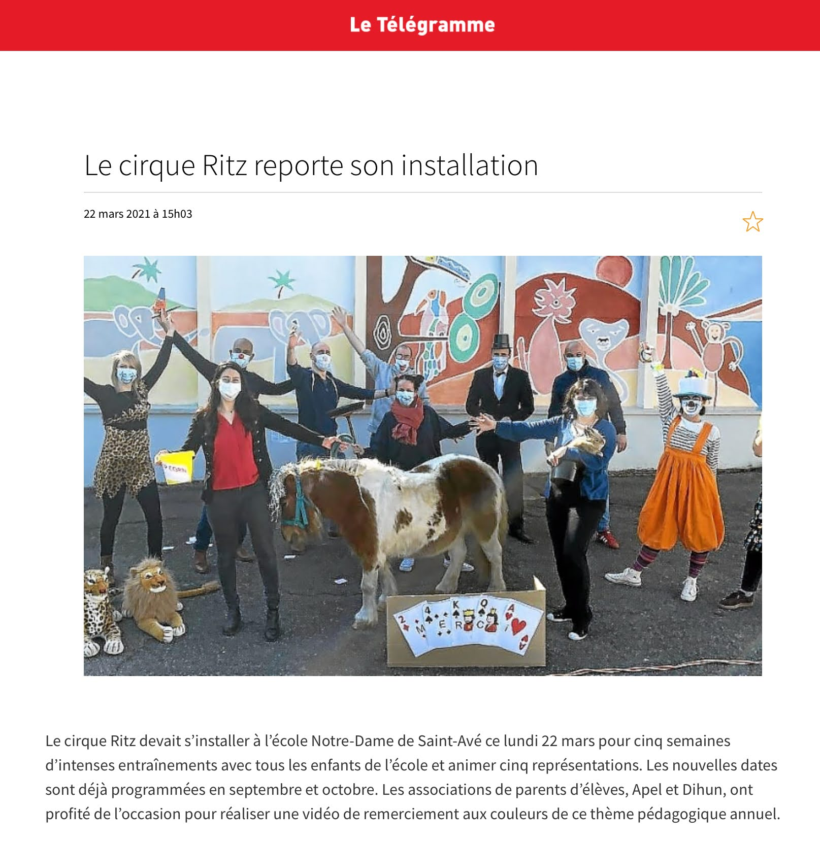 Le cirque Ritz reporte son installation