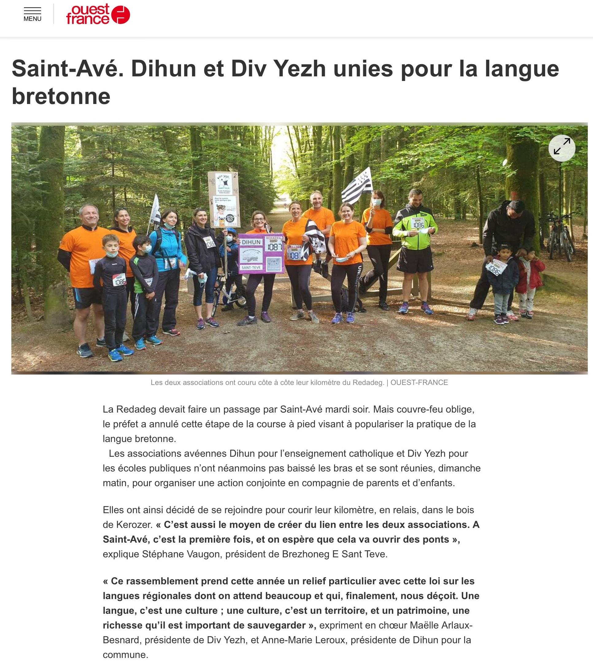 Dihun et Div Yezh unies pour la langue bretonne
