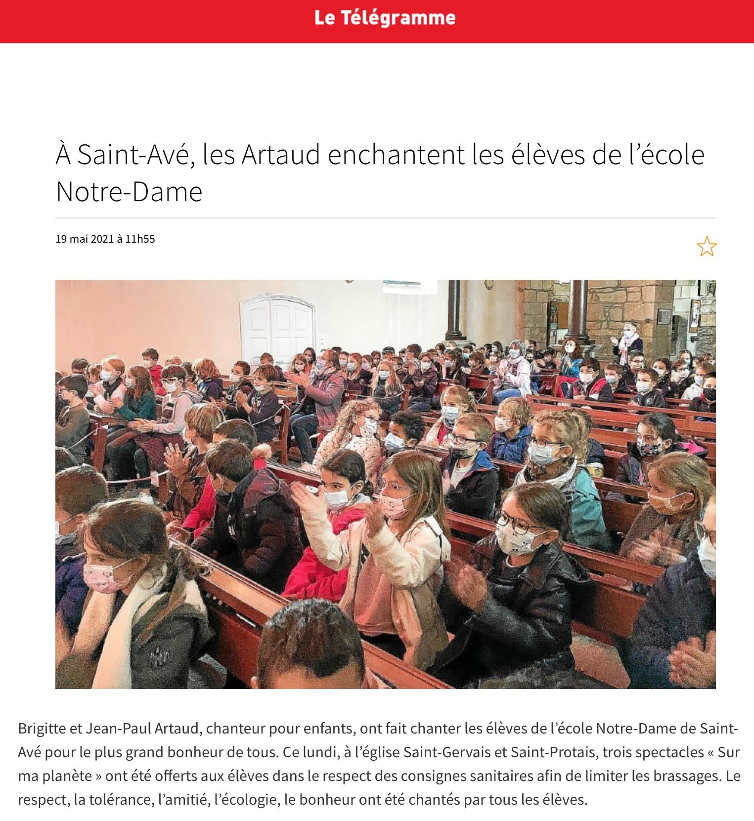Les Artaud enchantent les élèves de l'école Notre-Dame