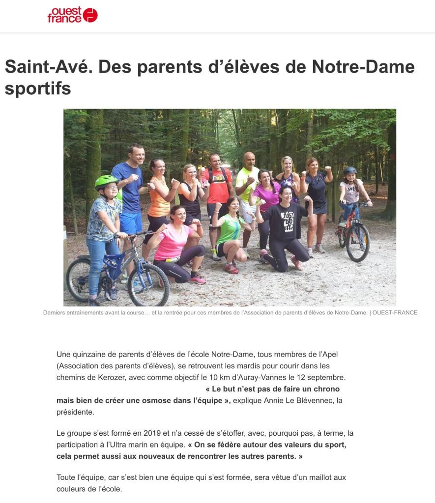 Des parents d'élèves de Notre-Dame sportifs