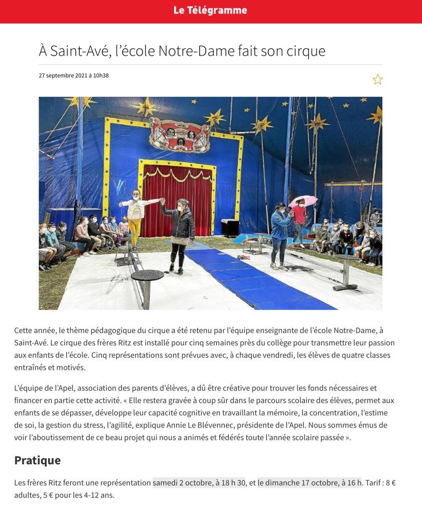 L'école Notre-Dame fait son cirque
