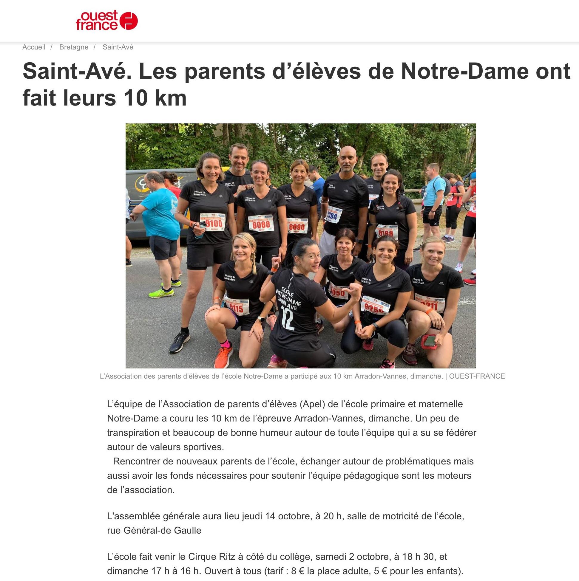 Les parents d'élèves de Notre-Dame ont fait leurs 10 km
